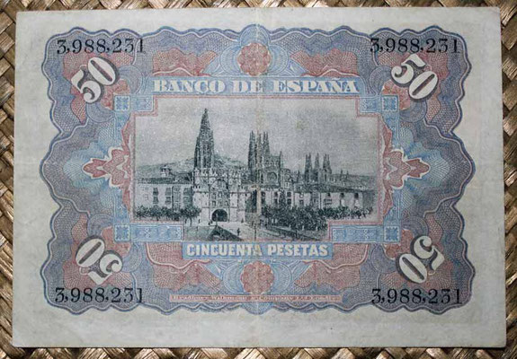 España 50 pesetas 1907 pk.63 reverso