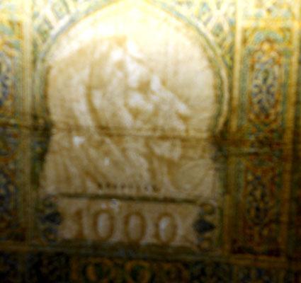 Marruecos colonial 1000 francos 1950 marca de agua
