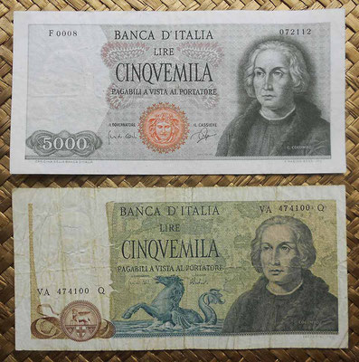 Italia 5000 liras 1964 vs. 5000 liras 1973 -Cristobal Colon anversos
