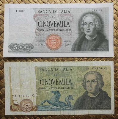 Italia 5000 liras 1964 vs. 5000 liras 1973 -Cristobal Colon anversos