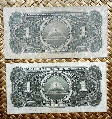 Nicaragua 1 cordoba 1939 vs. 1 cordoba 1941 reversos