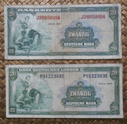 Alemania RFA 20 mark 1948 ocup. aliada WWII vs. 20 mark 1949 Bank Deutscher Lander anversos