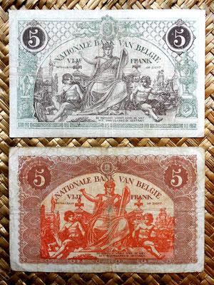 Bélgica 5 francos 1918 vs. 5 francos 1919 reversos