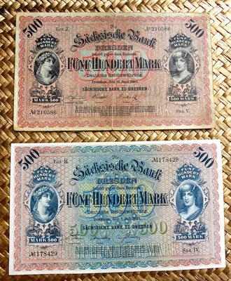 Alemania Sachsische Bank 500 marcos 1890 vs. 1922 anversos