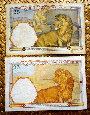 French West Africa 25 francs 1942 vs French Equatorial Africa 1941 reverso