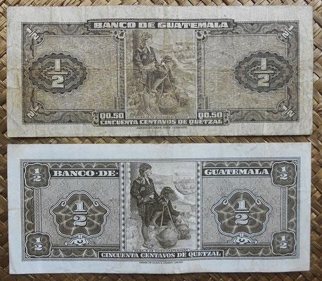 Guatemala 0.50 quetzal 1949 vs. 1969 reversos