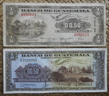 Guatemala 0.50 quetzal 1949 vs. 1969 anversos