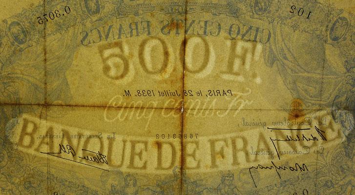 Francia 500 francos Bleu et Rose 1938 pk.88c filigrana