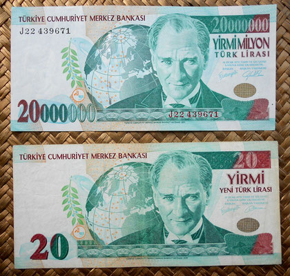 Turquía, 20.000.000 liras de 1988 vs. 20 liras de 1992 anversos