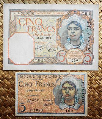 Tunez 5 francos 1941 vs. 1944 Banque de l'Algerie anversos