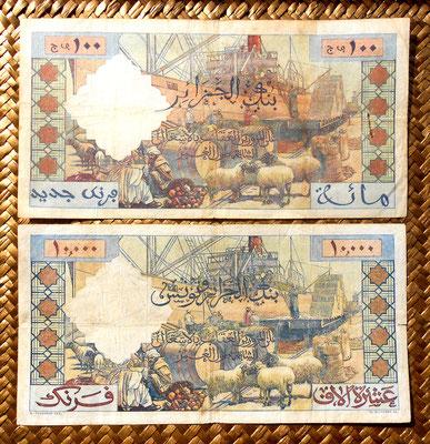 Argelia colonial 100 nuevos francos 1959 vs. 10000 francos 1957 reversos