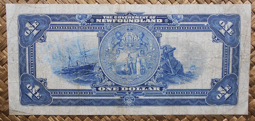 Canada Newfoundland 1 dollar 1920 (182x84mm) pk.A14c reverso