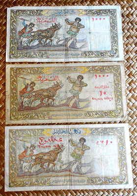Argelia ocup.francesa 1000 francos 1957 vs. resello 10 nv. francos 1958 vs. 10 nv. francos 1960 reverso