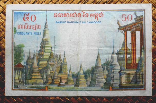 Camboya, 50 riels 1956 pk.3A reverso