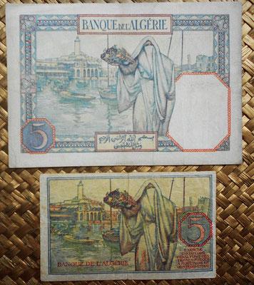 Tunez 5 francos 1941 vs. 1944 Banque de l'Algerie reversos