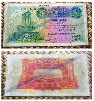 Siria 1 libra 1939 resello diagonal tipo A