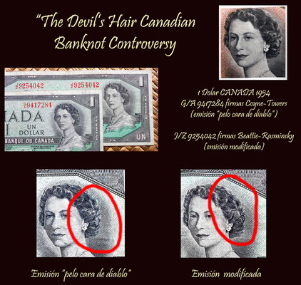 Canada 1 dolar 1954 -Devil's Hair- vs. modificada detalles
