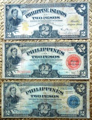 Filipinas 2 pesos 1924 vs. 1936 vs. 1944 anversos