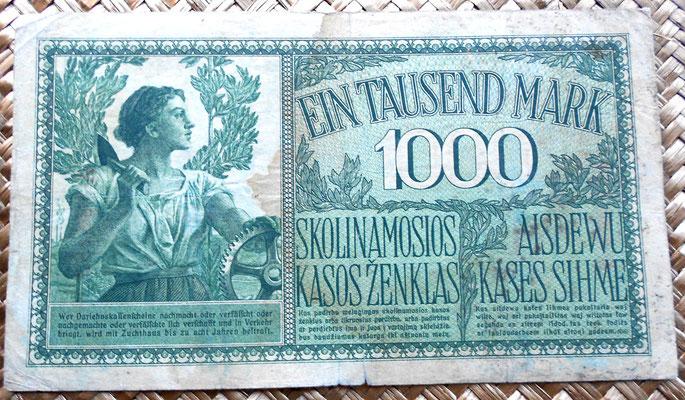 Lituania alemana 1000 marcos 1918 reverso