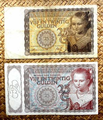 Holanda 25 gulden 1940 vs. 25 gulden 1944 anversos