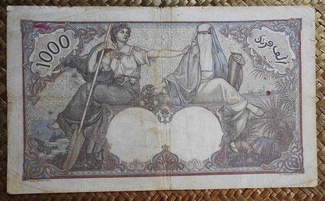 Argelia 1000  francos 1926 reverso