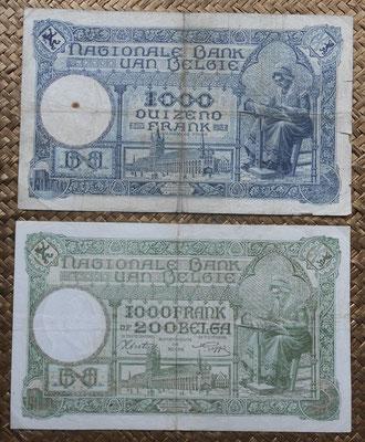 Bélgica 1.000 francos 1926 vs 1.000 francos-200 belgas 1943 reversos