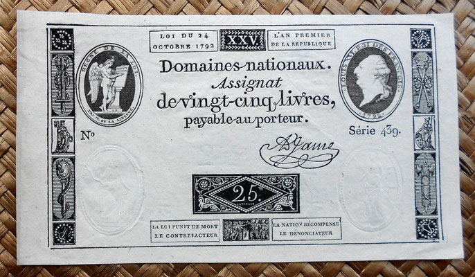 Francia Asignado -À Face Royal- 25 libras 1792