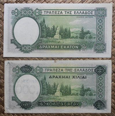 Grecia 100 dracmas 1939 vs. 100 resellado 1000 dracmas 1939 reversos