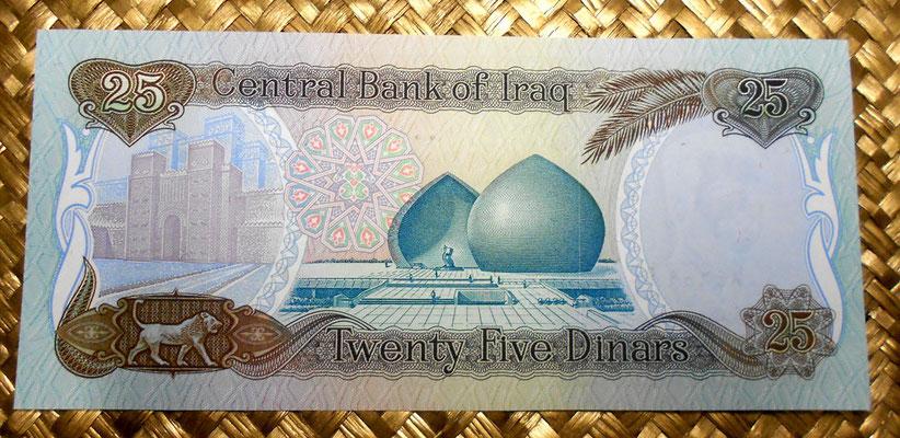 Irak 25 dinares 1986 reverso