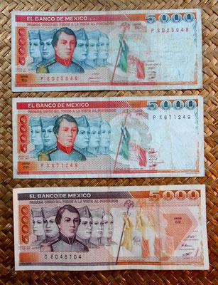 México 5000 pesos -Héroes cadetes 1982 vs. 1985 vs. 1987 anversos