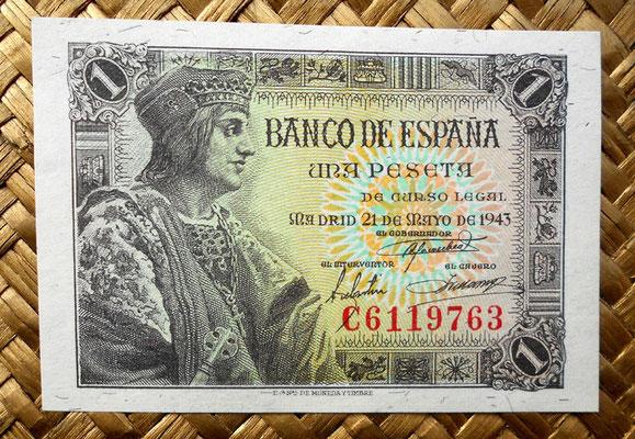 "1 peseta 1943 ""Rey Fernando el Católico"" anverso"