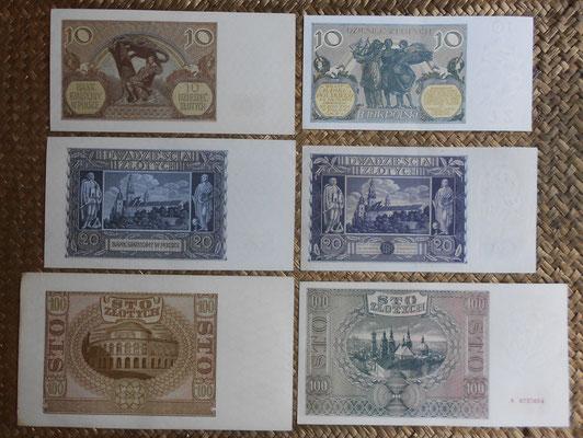 Polonia serie zlotych 1929-1941 reversos