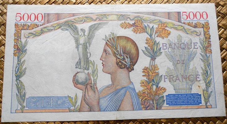 Francia 5000 francos 1939 reverso