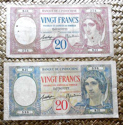 Djibouti 20 francos 1928-1938 texto azul vs.texto rojo anverso
