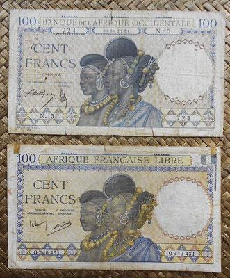 AOF 100 francos 1936 vs. AEF 100 francos 1941 anversos