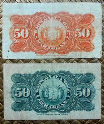 Paraguay 50 centavos 1903 vs. 50 centavos 1907 reversos