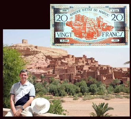desde el ksar de Ait Ben Haddou en los 20 francos de Marruecos de 1929