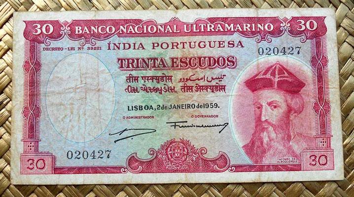 India portuguesa 30 escudos 1959 anverso
