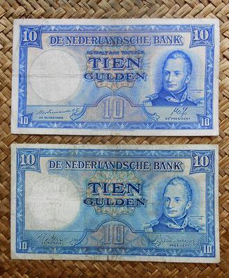 Holanda 10 gulden 1945 vs. 10 gulden 1949 -Guillermo I anversos
