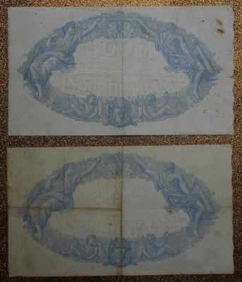 Francia 500 francos Bleu et Rose 1932 vs. 1938 reversos