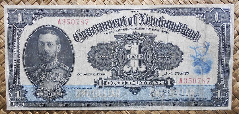 Canada Newfoundland 1 dollar 1920 (182x84mm) pk.A14c anverso