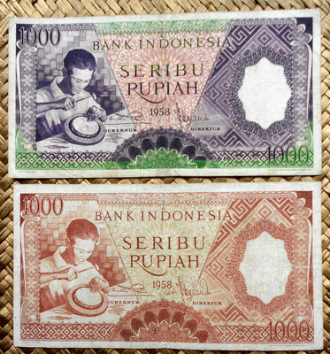 Indonesia 1000 rupias 1961 vs. 1965 anversos