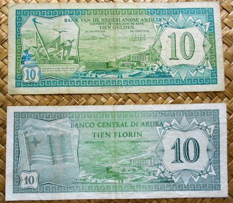 Antillas holandesas 10 gulden 1984 vs Aruba 10 florines 1986 anverso