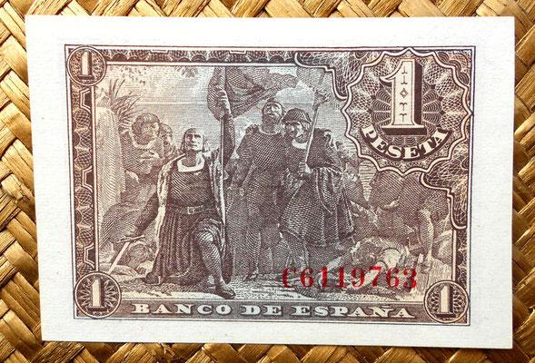 """1 peseta 1943 """"Desembarco de Colón en el Nuevo Mundo"""" reverso"""