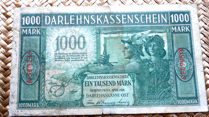 Lituania alemana 1000 marcos 1918 anverso