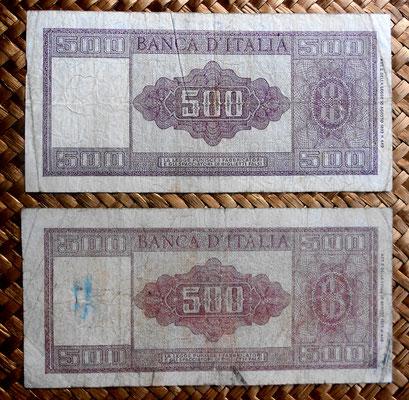 Italia -Ornata di Spigue- 500 liras 1947 vs. 500 liras 1948 reversos