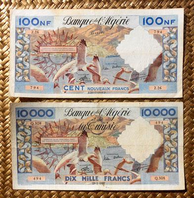 Argelia colonial 100 nuevos francos 1959 vs. 10000 francos 1957 anversos