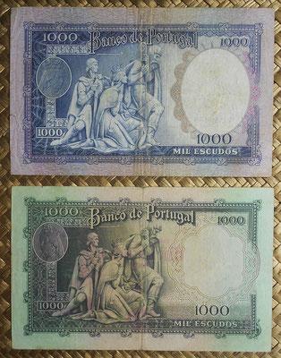 Portugal 1000 escudos 1956 vs. 1000 escudos 1961 -Philippa de Lancaster reversos