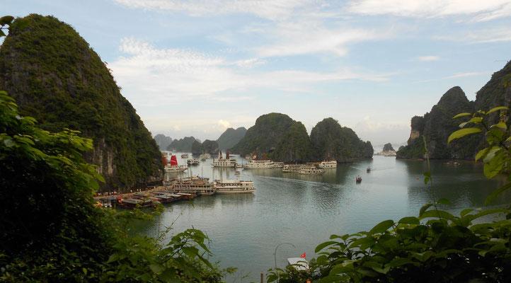 La Bahía de Halong desde un islote (vista aérea)