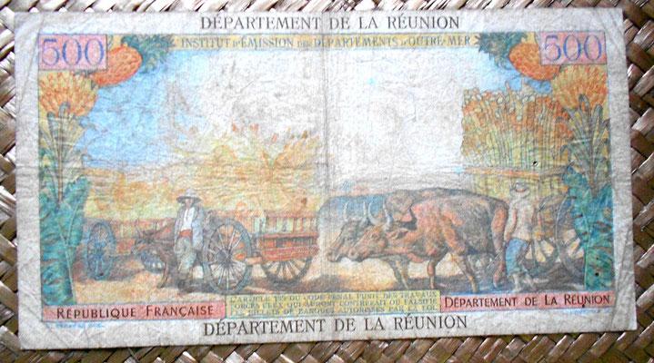 Isla Reunión 500 francos sobreimpreso 10 nuevos francos 1971 reverso